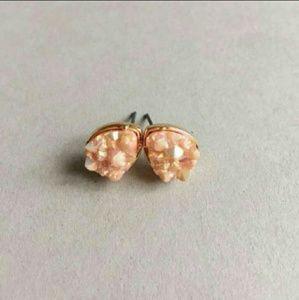 Light Pink Teardrop Druzy Earrings